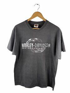 Harley Davidson T Shirt Adults Size L Grey Short Sleeve Crew Logo Front & Back