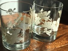 Pair Vintage Georges Briard Double Old Fashioned Rocks Glasses Cream Floral Mcm