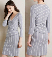ANTHROPOLOGIE Maeve NWT Wrapped Stripe Column Dress Grey V-Neck Knit Sz SP $148