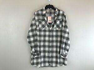 Women's Missguided Plaid Oversized Long Sleeve Shirt Dress - Size US 4 UK8-Black
