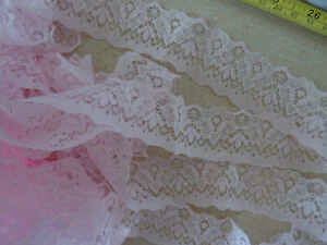 Baby Pink non-stretch floral Lace Edging 2.6m lengths