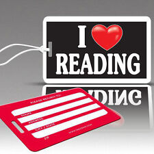TagCrazy Fun Luggage Tags, I Heart Reading, Durable Plastic Loops, 1 Pack