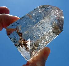 Spectacular Citrine Quartz Phantom Crystal Point Ultra Clear Red Green Chlorite
