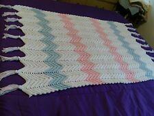 NEW Super Soft, HandMade Afghan Baby Blanket Throw w tassels Pink, Blue, White