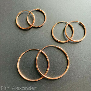 Rose Gold over 925 Sterling Silver 1.5mm Endless Hoop Earrings All Sizes