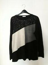 Damart Colour Block Sweater Black Size UK 14/16 rrp £29 DH092 RR 05