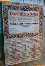 Carburateur Memini Action 100 Francs Lyon 23 Mai 1931
