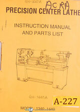 Acra 1340 & 1440, Centre Lathe, Instructions Parts and Assembly Manual