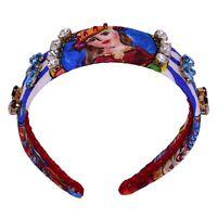 DOLCE & GABBANA Carretto Sicily Headband Hairband Queen Crystals Blue 06373