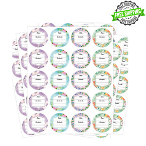 """Canning Labels Stickers 4 Floral Designs 2"""" LARGE Round 300 PCS For Container Sp"""