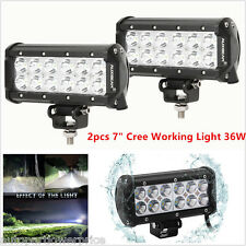 "A Pair 36w 7"" Cree LED Work Light Bar Flood Beam Offroad 4WD 4x4 Driving Car SUV"