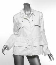 ARMANI COLLEZIONI White Cargo Safari Drawstring Waist & Collar Coat Jacket M/L