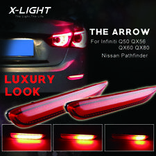 Red LED Rear Bumper Reflector Light /Sequential mode For Infiniti Q50 QX Nissan