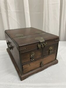 Antique 19th Century Chinese Huanghuali Wood Document Strongbox