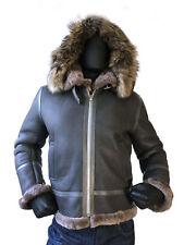 Jakewood Men's B-3 Gray Shearling Sheepskin  Aviator Jacket, Fur Hood Size XL