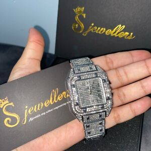 Mens Iced Watch Silver Statement Jewellery Bussdown Watch Shine New!