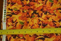 """By-the-Half-Yard, 44"""", Orange & Gold Leaves on Quilter Cotton, Blank Text. M3965"""