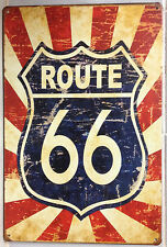 ROUTE 66 Tin Metal Sign Rustic Look .. MAN CAVE . brand new. AU SELLER