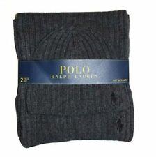 Polo Ralph Lauren Men's 2 Piece Set Hat & Scarf Charcoal Grey Lambswool Blend