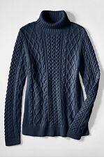 Land End 448983 Lofty Blend Aran Cable Turtleneck Sweater PETITE LARGE 14-16