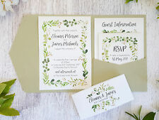SAMPLE ◦ GREENERY Pocketfold Wedding Invitation ◦ Botanical Leaf ◦ Watercolour