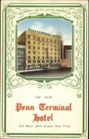 New York City Penn Terminal Hotel Linen Postcard