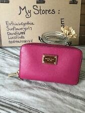 MICHAEL KORS VIBRANT RICH PINK LEATHER FULL ZIP WALLET FITS IPHONE 4S/CC EUC