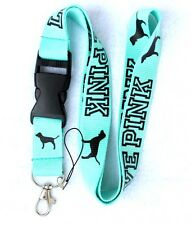 10 Pcs Clothing Logo Keychain LANYARD Neck phone Strap Turquoise/Black