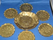 6 Antique German Brass Pieces: 1 Embossed Plate & 5 Smaller Plates Almost 3 LBS