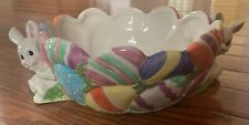 🌿Fitz And Floyd Collectible Easter Bunny Rabbit Candy Dish Bowl Gathering Eggs