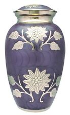 Adult Cremation Urn For Ashes Large Funeral Memorial Ash Container Purple Flower