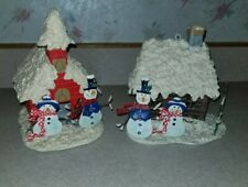 2 Metal Christmas Village Houses Cottages Snowman Snowmen Can be Ornaments also