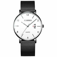 Men's Quartz Stainless Steel Mesh Band Ultra-thin Dial Waterproof Wrist Watch