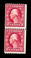 US 1915 - Sc# 487 2 c Washington - Coil Joint Line Pair -Mint NH - Vivid Color