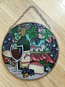 "Joan Baker Wine Country Vineyard Theme Stained Glass Suncatcher New 4"""