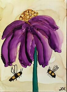 """5x7"""" art print purple Wildflower bumblebees by Lynne Kohler"""