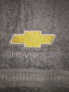 Embroidered Gray Bathroom Bath Towel Automotive Label in Gold and Silver  CROSS