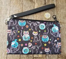 Skeleton Candy Skull Cat Purse - Skull Halloween Kitten Black Clutch Bag