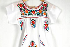 Hand Embroidered White Dress Made Mexico Boho Size Medium STUNNING Quality