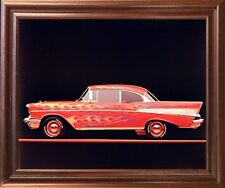 Classic Chevy Bel Air 1957 Vintage Car Wall Decor Mahogany Framed Picture 18x22