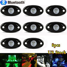 8 PCS Bluetooth Color Changing RGB LED High Power Car Trucks Rock Lights Kit MY
