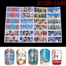 12Pc/Sheets Christmas Water Transfer Nail Art Decoration Stickers Decals Xmas SR