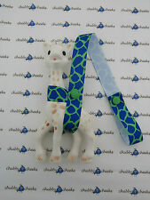 Sophie The Giraffe Harness Toy Saver Strap Leash, Blue Green Giraffe Pattern