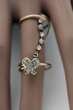 Women Gold Wrap Around Long Band Ring Cute Style Fashion Jewelry Butterfly 7.5
