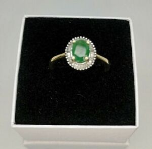 18k Gold Plated Emerald & Diamond Ring - Size P-Q