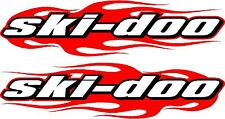 "Ski-doo snowmobile trailer flame 2 sticker decal set red  11"" x48"" left & right"