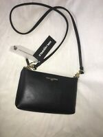 Karl Lagerfeld Paris Top Zip CROSS BODY Bag Black Leather NEW