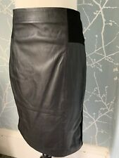 Laura Ashley Black Real Leather Skirt Uk 8 Super Cute Ideal For Winter