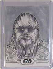 2019 Topps Star Wars Chrome Legacy Sketch Cards 1/1 Cathy Razim Chewbacca B&W