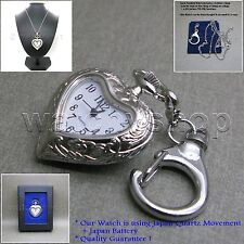 Silver HEART Style Antique Lady Pendant Watch Key Chain Necklace Gift Box L58